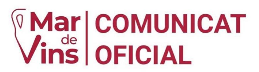 Mar de Vins – Comunicat Oficial